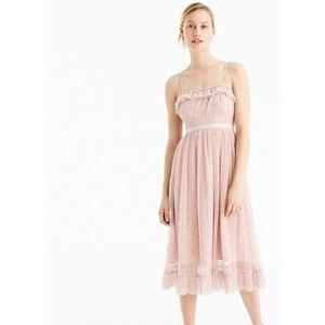 J Crew light blush pink ruffly midi dress 16